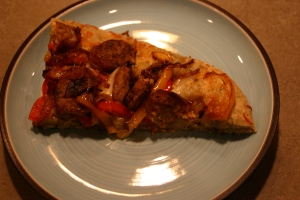 turkey sausage, caramelized onions and bell pepper pizza