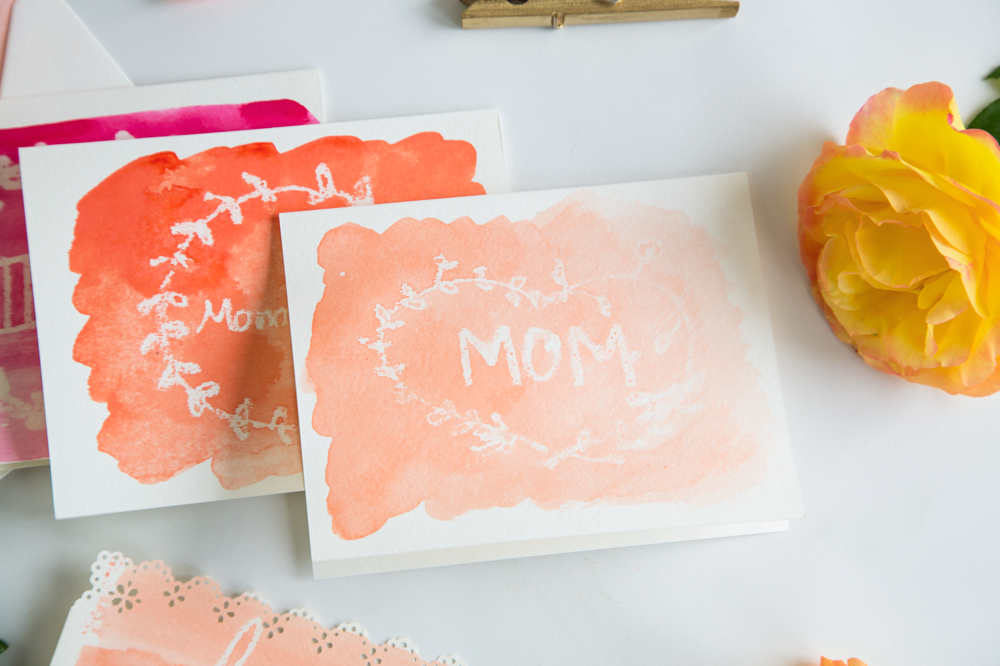 Make this: Wax Resist Watercolor Mother's Day Card | {love+cupcakes